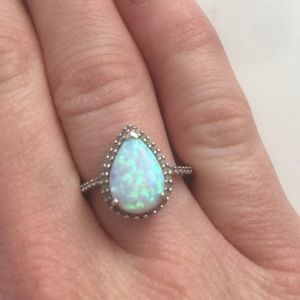Lab Opal Ring with White Sapphires